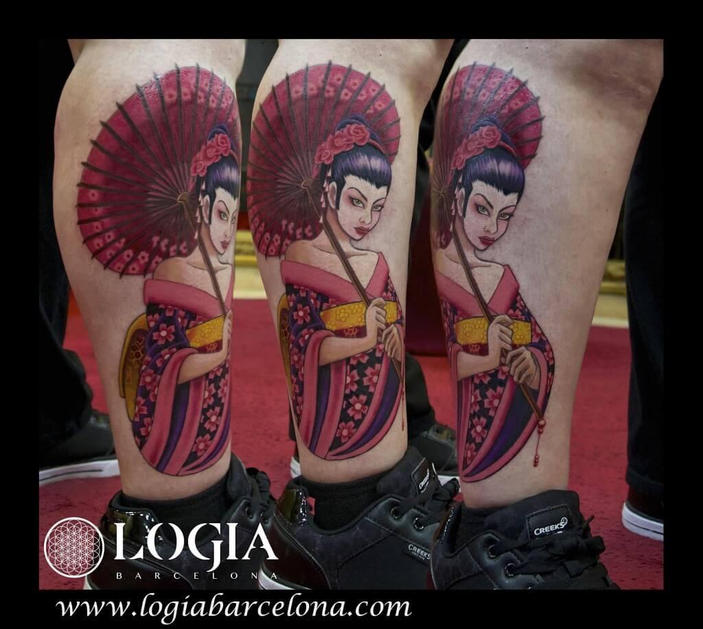 tatuaje new school cartoon geisha logia tattoo