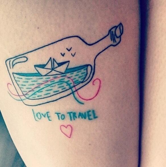 Botella Tatuaje tatuajes wanderlust - | tatuajes logia barcelona