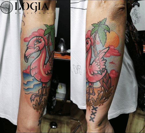 Tatuatge de palmera i flamenc