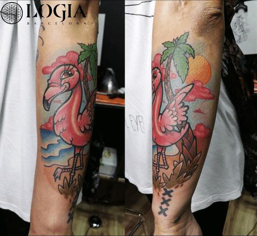 tatuaje flamenco y palmera
