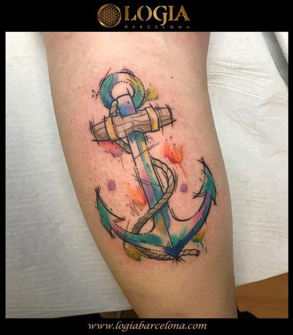 Anclas Llenas De Color Tatuajes Logia Barcelona