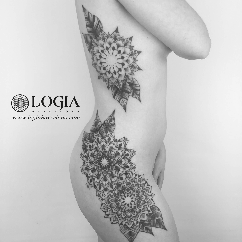 tatuaje de cintura a pierna mandala logiabarcelona ana godoy