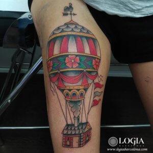tatuaje pierna globo casa logia barcelona tokio