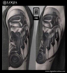 tatuaje brazo stormtrooper star wars canon piano logia barcelona jas