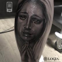 tatuaje pierna virgen lagrimas logia tattoo jas