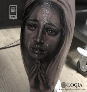 tatuajes cara de mujer pierna virgen lagrimas logia barcelona jas