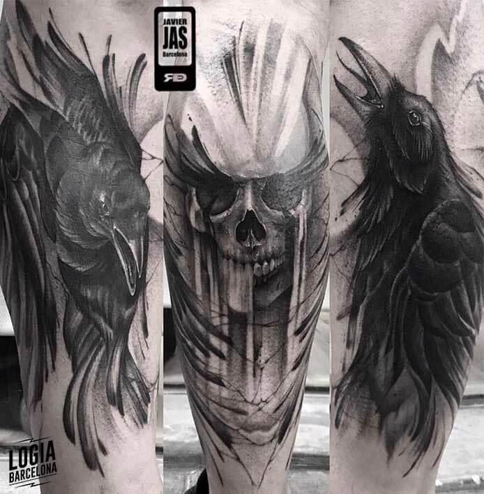 Tatuaje de Calavera Blackwork Realismo