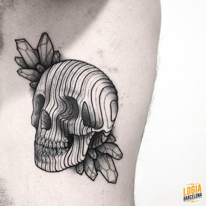 Tatuaje calavera newschool Logia Barcelona