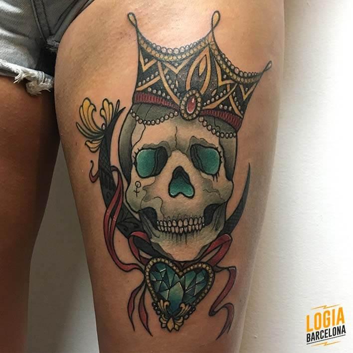 Tatuaje de Calavera Neotradicional