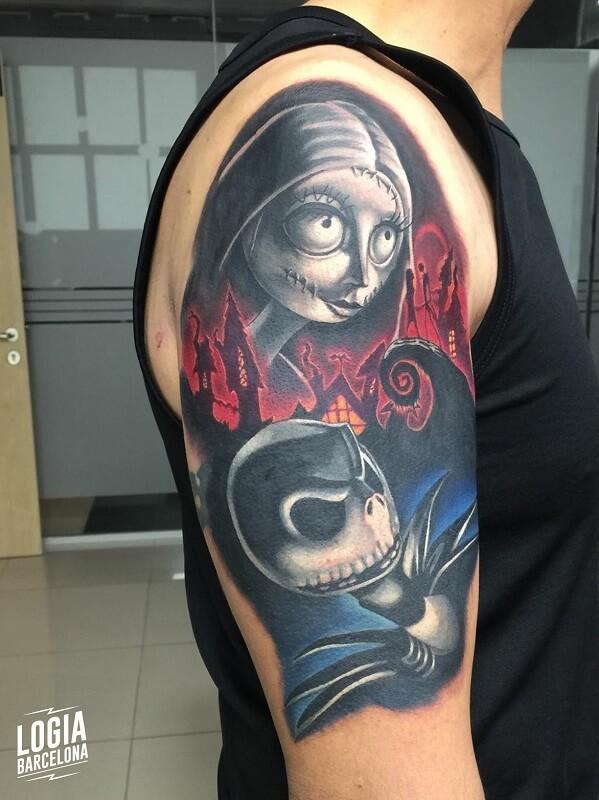tatuaje en color hombro comic novia cadaver