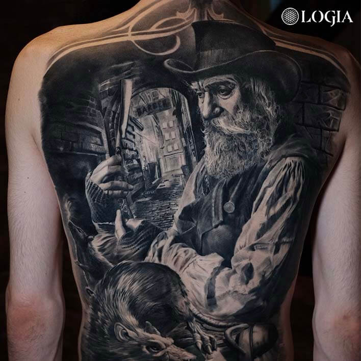 tattoo on the back with perspective