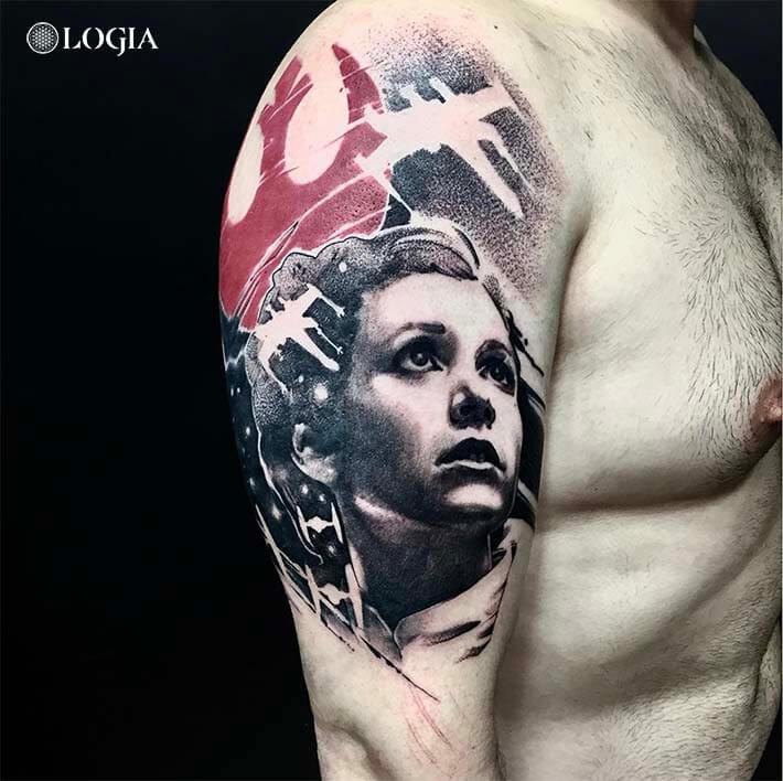 tatuaje brazo star wars leia logia barcelona zoen