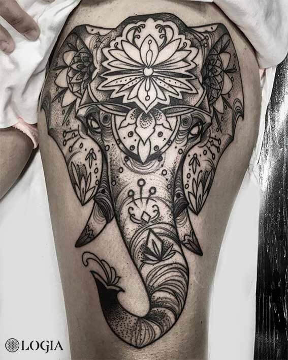 tatuaje elefante mandala zoen Logia Barcelona