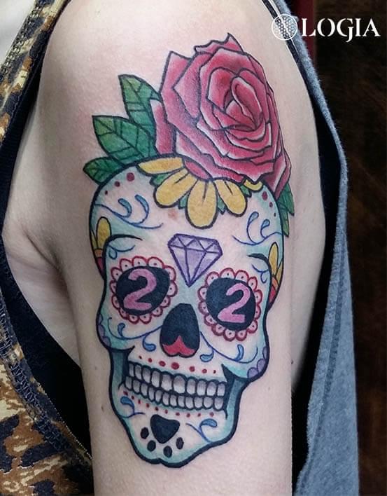 tatuaje rosa calavera mexicana