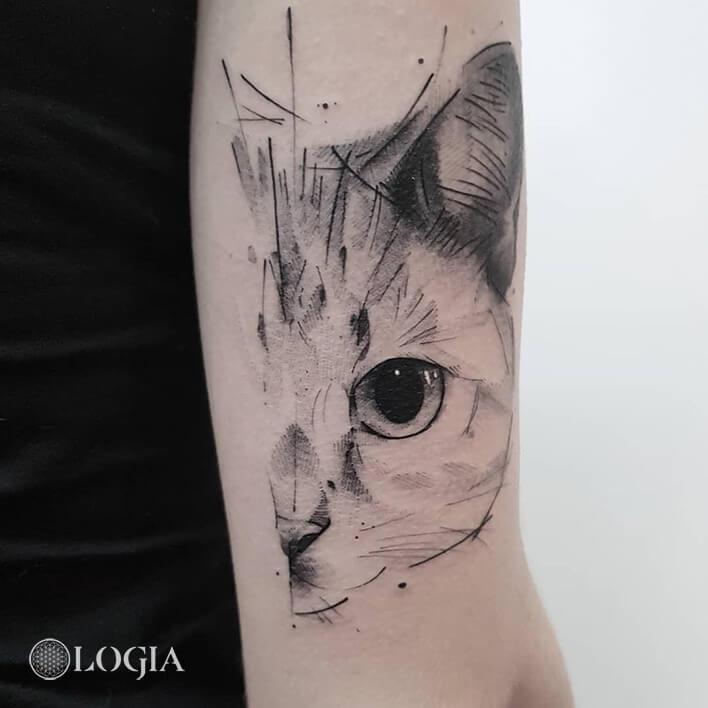 tatuaje gato sketch logia barcelona dani bastos