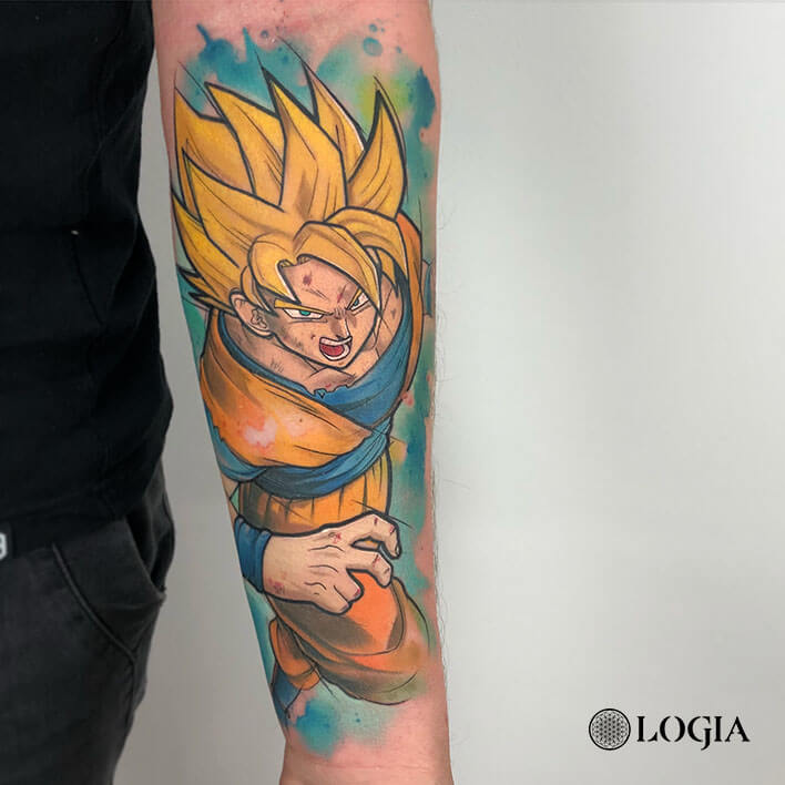 tatuaje antebrazo supersayan logia barcelona rzychu