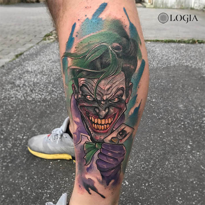 tatuaje pierna joker logia barcelona rzychu