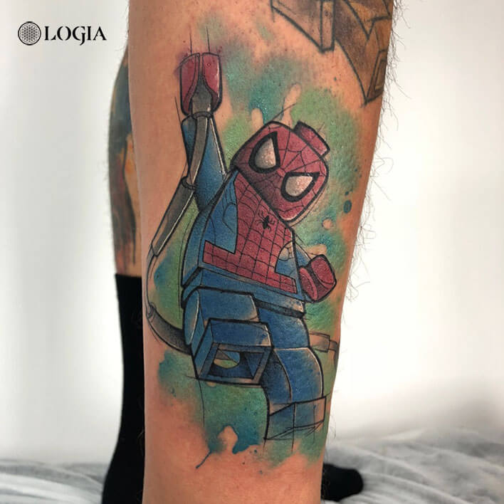 spiderman tattoo lego