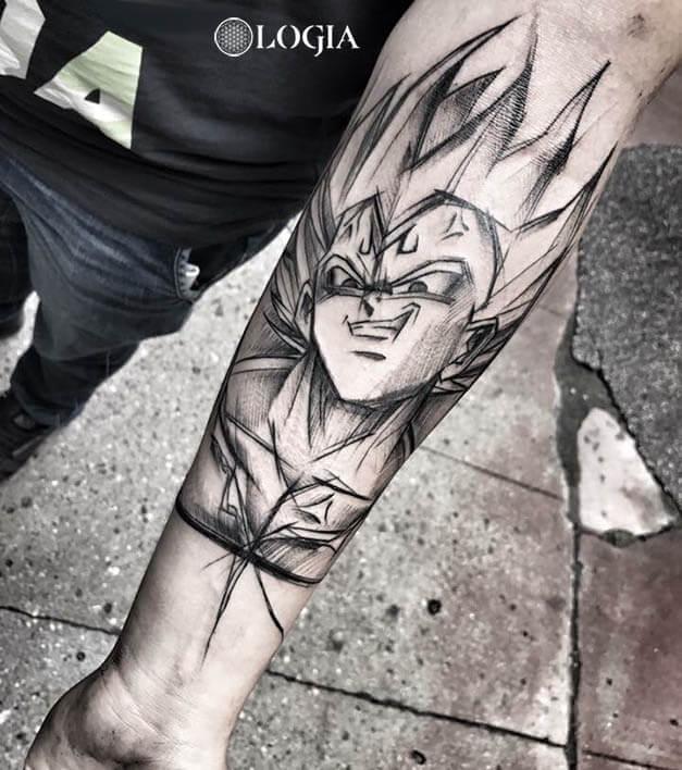 tatuajes antebrazo vegeta estilo sketch logia barcelona janiak