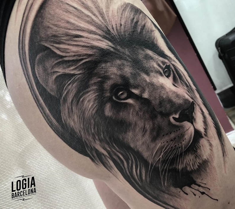 tatuaje leon realismo jas logia barcelona