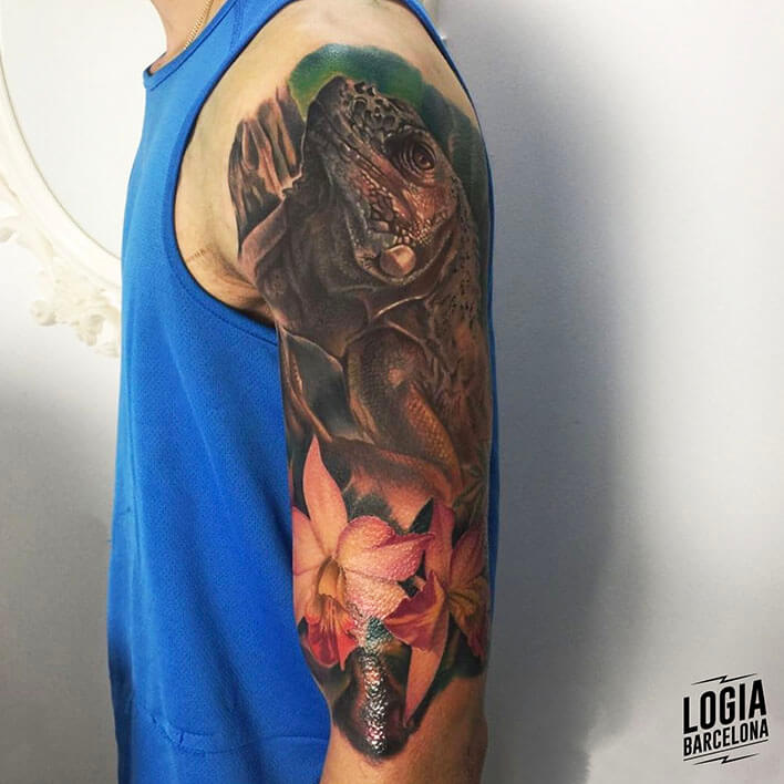 tatuaje de iguana Leo Valverde Logia Barcelona