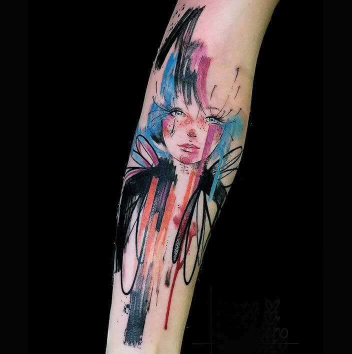 tattoo watercolor en antebrazo jessica damasceno