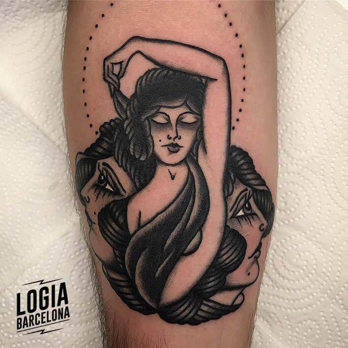 tatuaje brazo caras mujer logia barcelona fran ruina