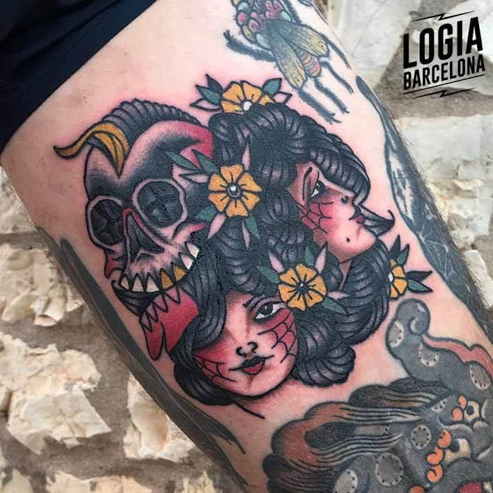 tatuaje brazo caras mujeres calavera logia barcelona fran ruina