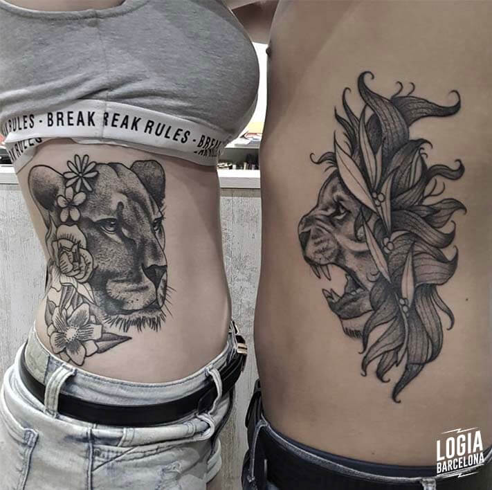 Tatuaje para parejas leon leona Blackwork Logia Barcelona