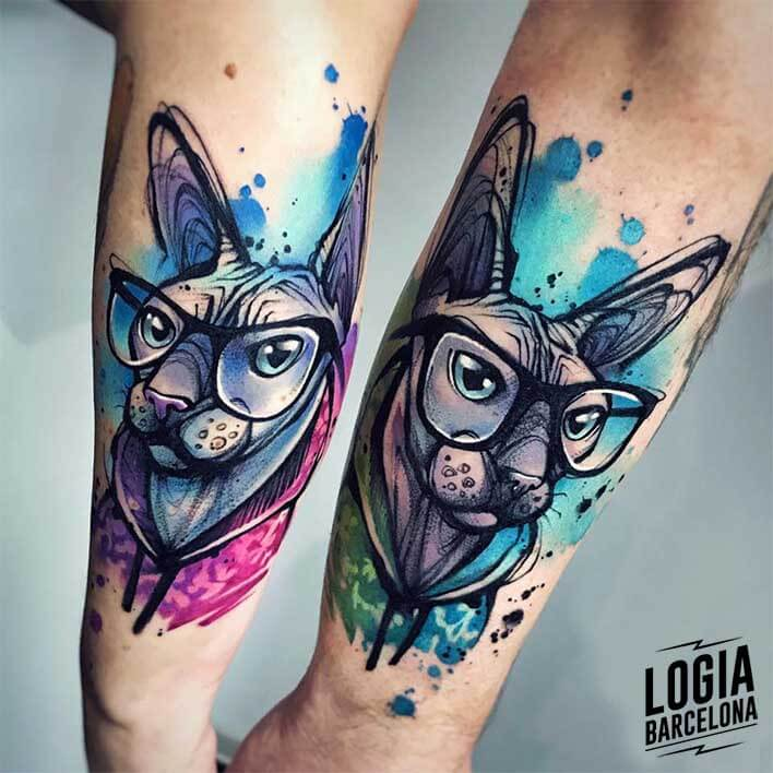 tatuaje logia barcelona parejas watercolor gatos