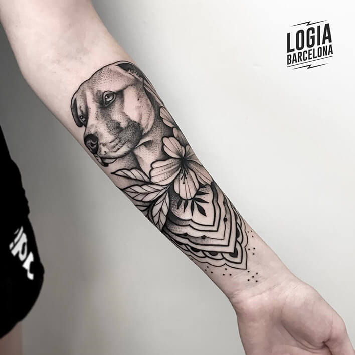 tatuaje brazo tradicional perro logia barcelona Beve