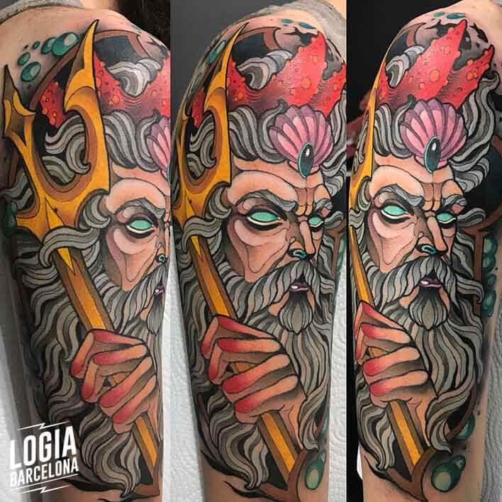 tatuaje_brazo_poseidon_felipe_videira_logia_barcelona