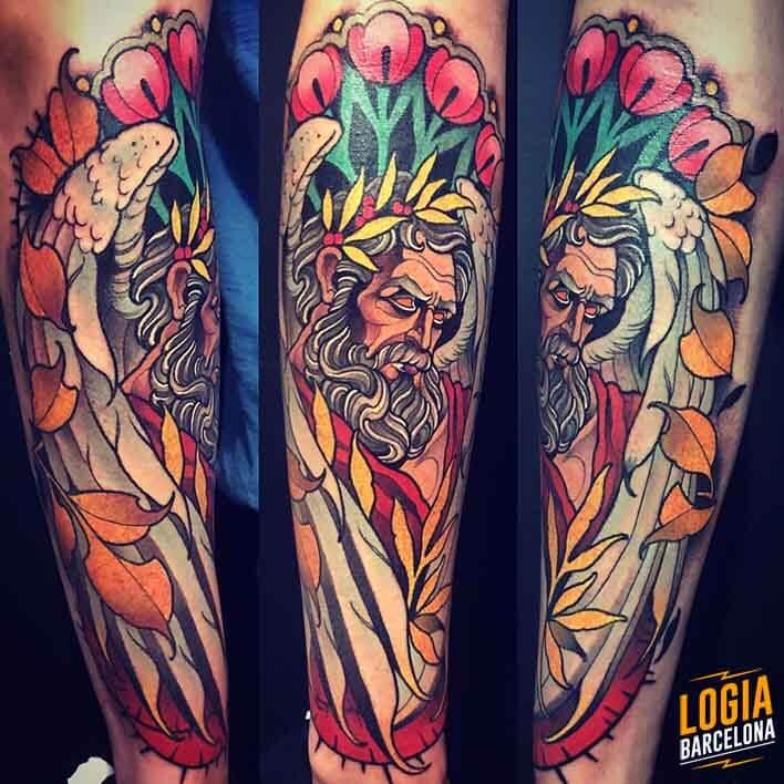 tatuaje zeus a color Felipe Videira Logia Barcelona