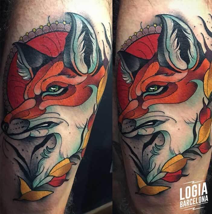 tatuaje_pierna_zorro_felipe_videira_logia_barcelona