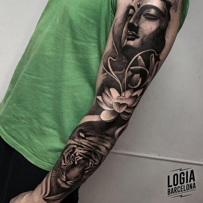 tatuajes flor de loto y buda
