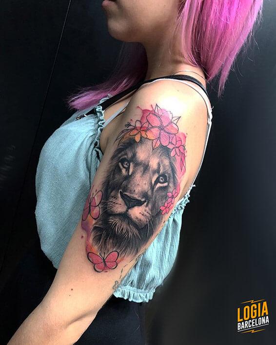 tatuaje realista leon Logia Barcelona tatuador Jas