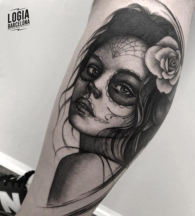 tatuaje realismo catrina tatuador Jas