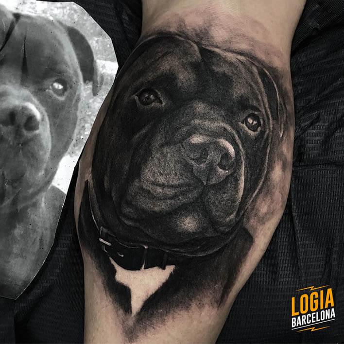 tatuaje perro realista Jas Logia Barcelona