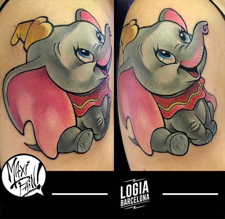 tatuaje_dumbo_hombro_maxi_paint_logia_barcelona