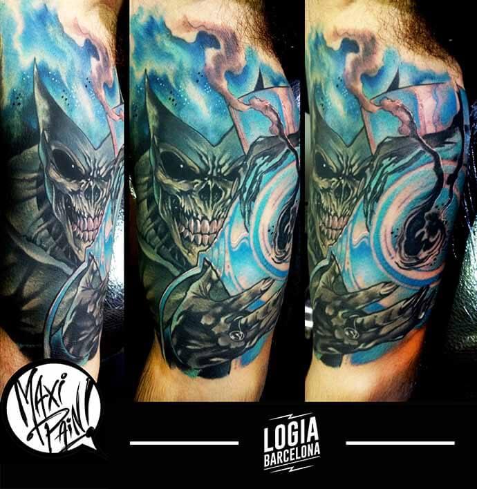 tatuaje calavera en color Maxi Paint Logia Barcelona