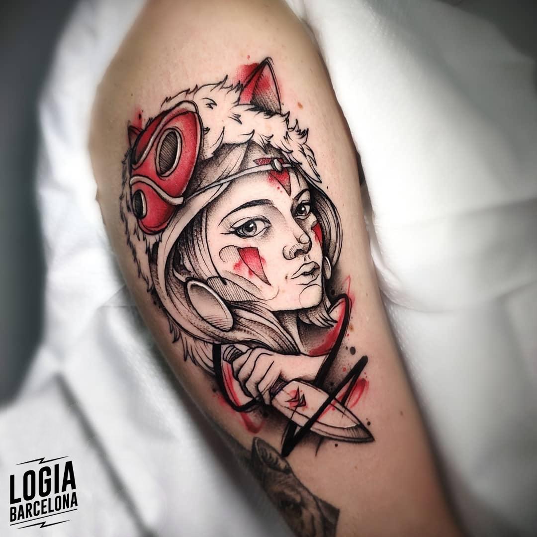 Tatuaje Mononoke San Guerrera brazo Logia Barcelona Yeik