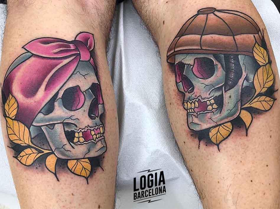 tatuaje de pareja de calaveras Yer Logia Barcelona