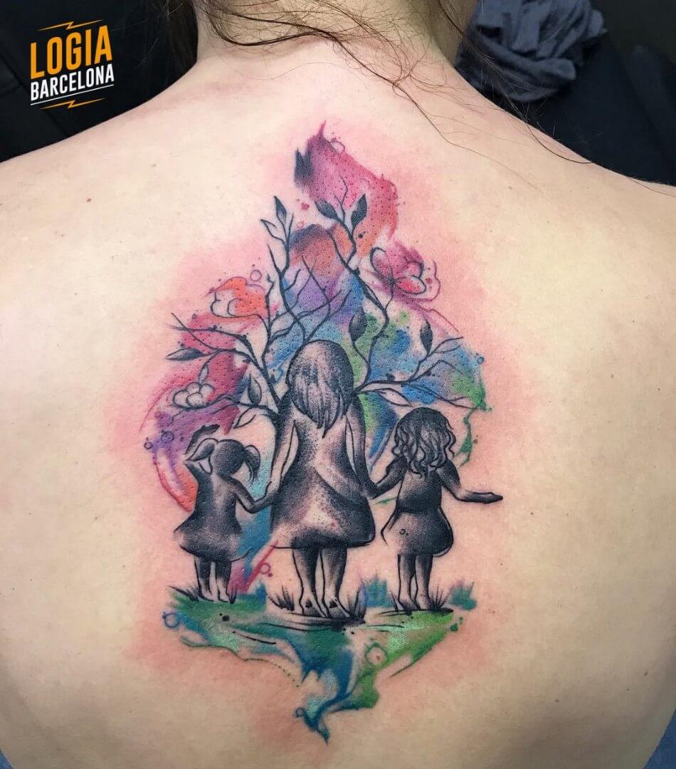 Tatuaje union familia  watercolor Kathycaboom Logia Barcelona