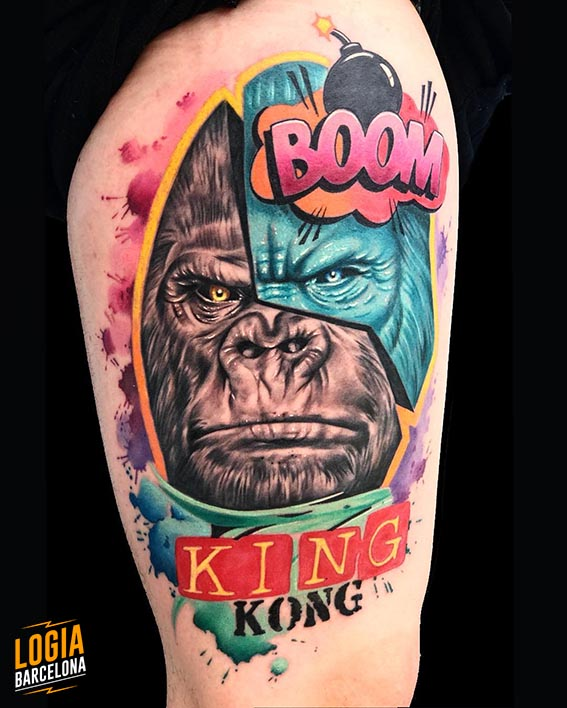 tatuaje gorila king kong pop art