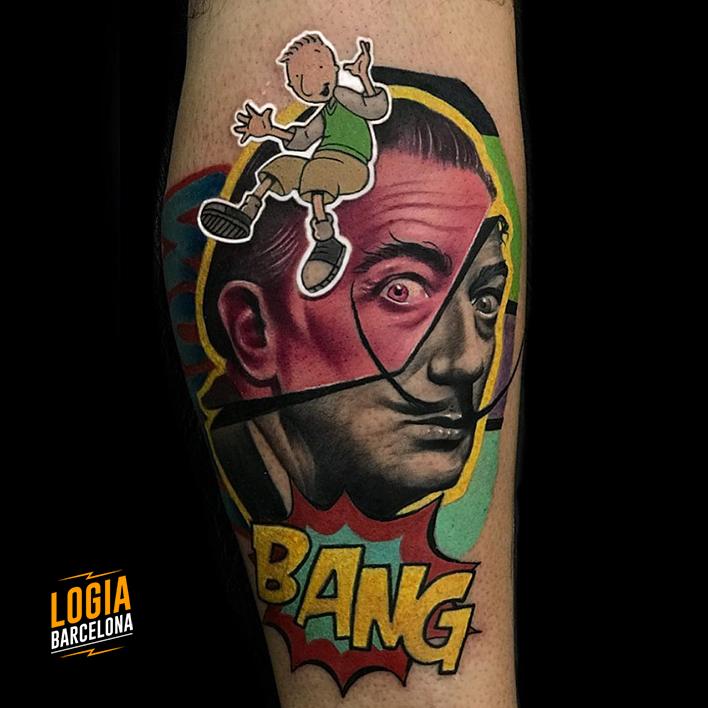 tatuaje retrato de dalí - Logia Barcelona