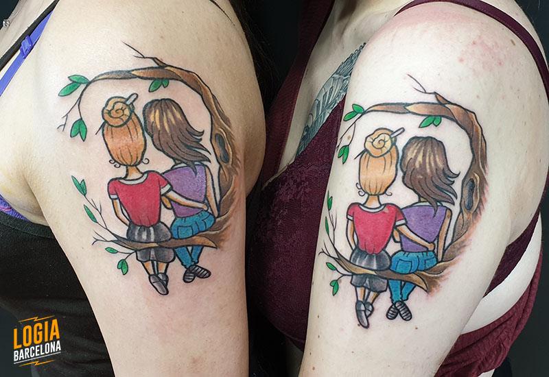 tatuajes iguales madre hija logia barcelona