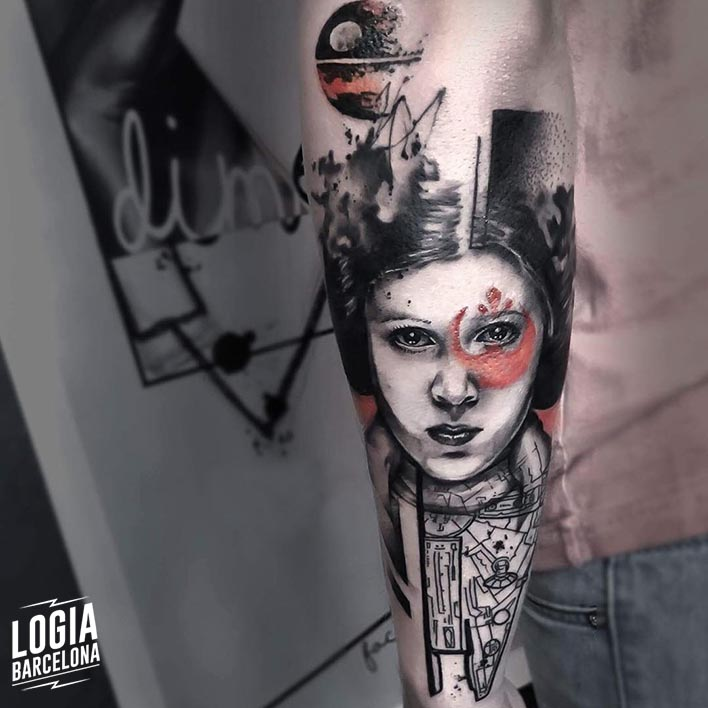 tatuaje_princesa_leia_starwars_brazo_logia_barcelona_dime_reck