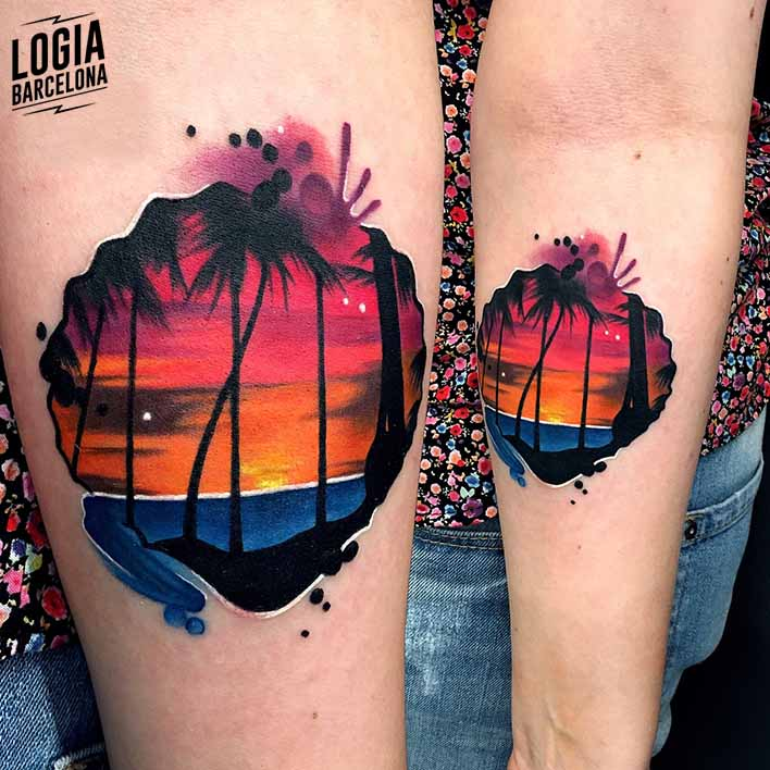 tatuaje hawaiano palmeras Logia Barcelona Monika Ochman