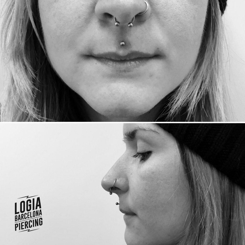 piercings en la nariz y labio