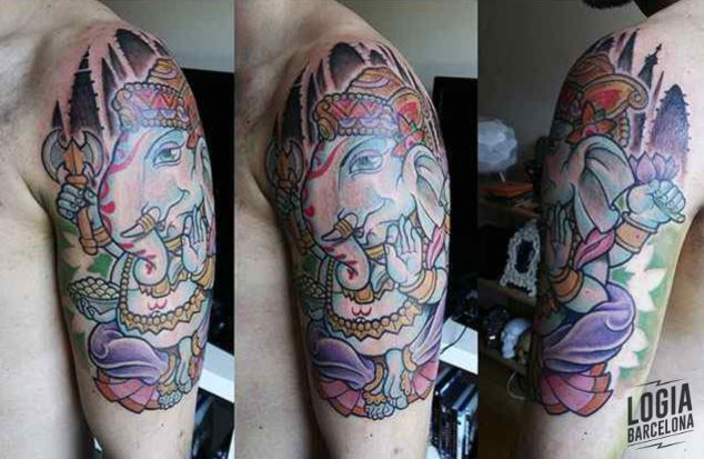 Tattoo elefante hindu ganesha color newschool Logia Barcelona